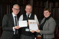 03/05/18 World Host celebration award ceremony for Aberdeen City Council staff- Andy MacDonald (L) Director of Customer Services and Aberdeen City Council Chief Executive Angela Scott present award to- Angus Beacom- Aberdeen Crematorium-