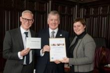 03/05/18 World Host celebration award ceremony for Aberdeen City Council staff- Andy MacDonald (L) Director of Customer Services and Aberdeen City Council Chief Executive Angela Scott present award to-