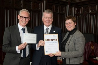 03/05/18 World Host celebration award ceremony for Aberdeen City Council staff- Andy MacDonald (L) Director of Customer Services and Aberdeen City Council Chief Executive Angela Scott present award to-
