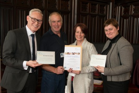 03/05/18 World Host celebration award ceremony for Aberdeen City Council staff- Andy MacDonald (L) Director of Customer Services and Aberdeen City Council Chief Executive Angela Scott present award to- Lorna Paul and Brian Mathew, Duthie park,