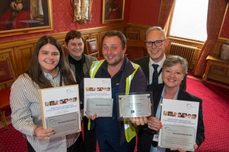 03/05/18 World Host celebration award ceremony for Aberdeen City Council staff- L-R Heather Rosa (Senior Librarian Kincorth Library),Chief Executive Angela Scott, Daniel Shand Gardener, Andy MacDonald Director Customer Services and Lorraine McConnon (Customer Services )