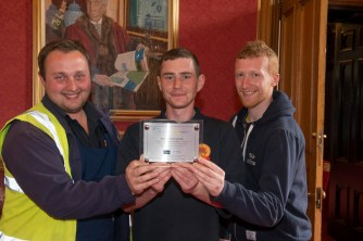 03/05/18 World Host celebration award ceremony for Aberdeen City Council staff Gardeners at Hazlehead L-R Daniel Shand, Scott Masson and Jonathan Christie,